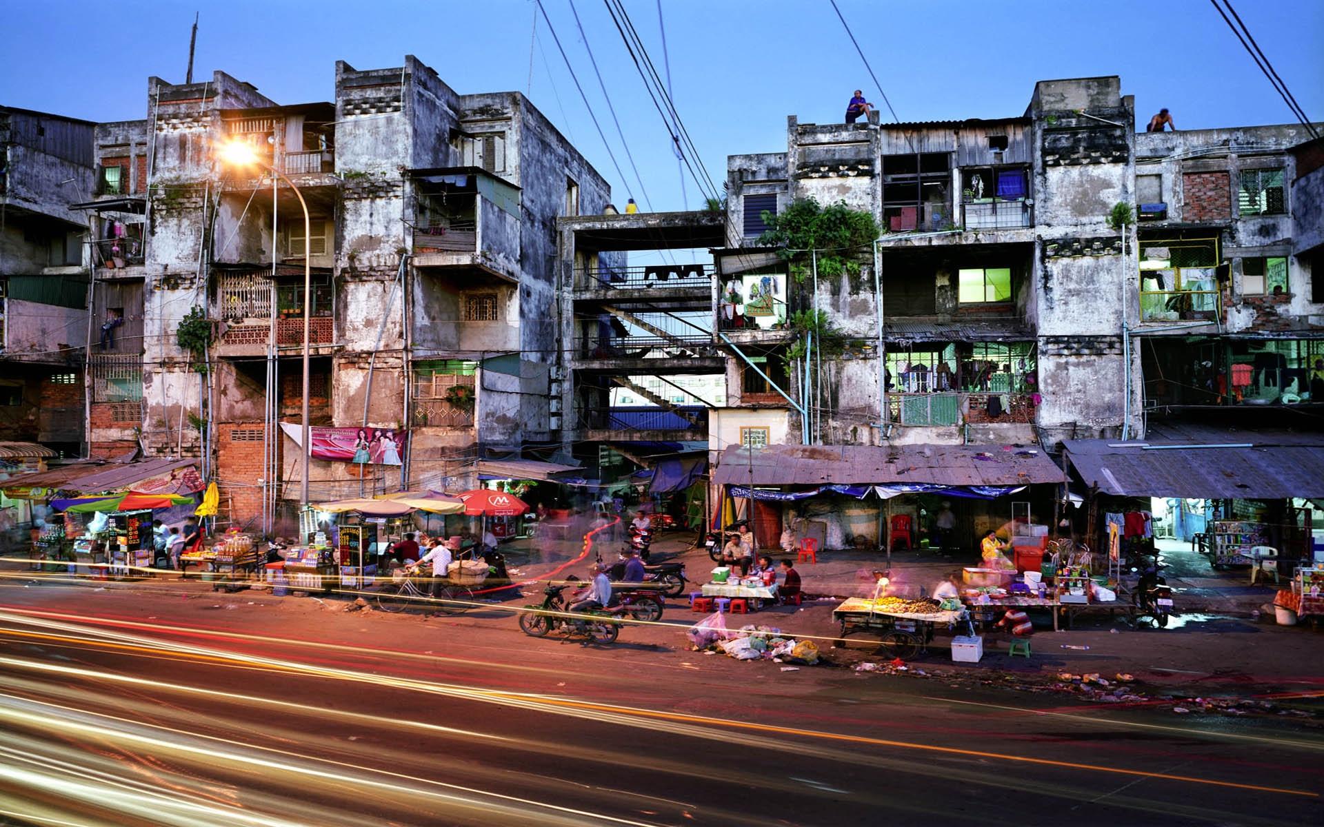 Bidonville à Phnom Penh, Cambodge