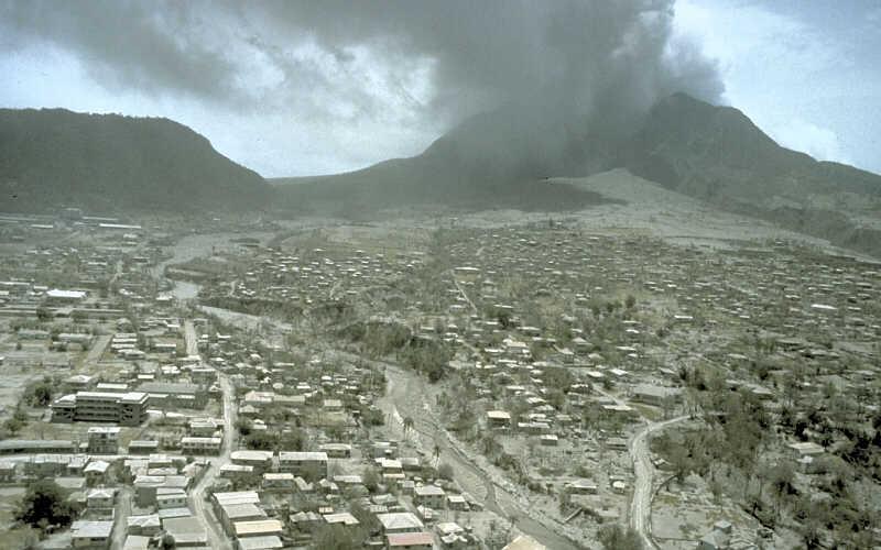 Plymouth détruite après l'éruption, Montserrat