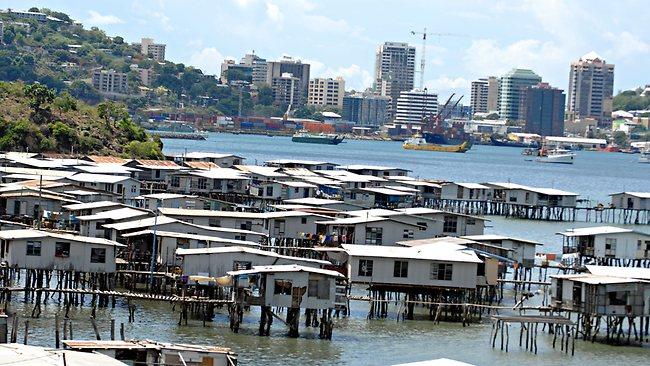 Village sur pilotis, Port Moresby, Papouasie-Nouvelle-Guinée