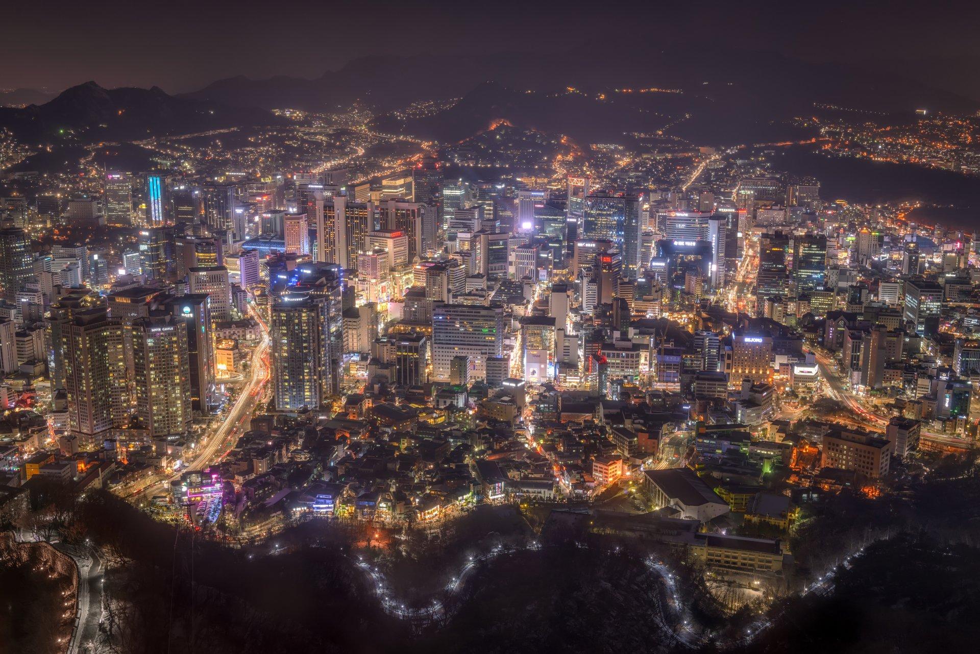 Séoul de nuit, Corée du Sud
