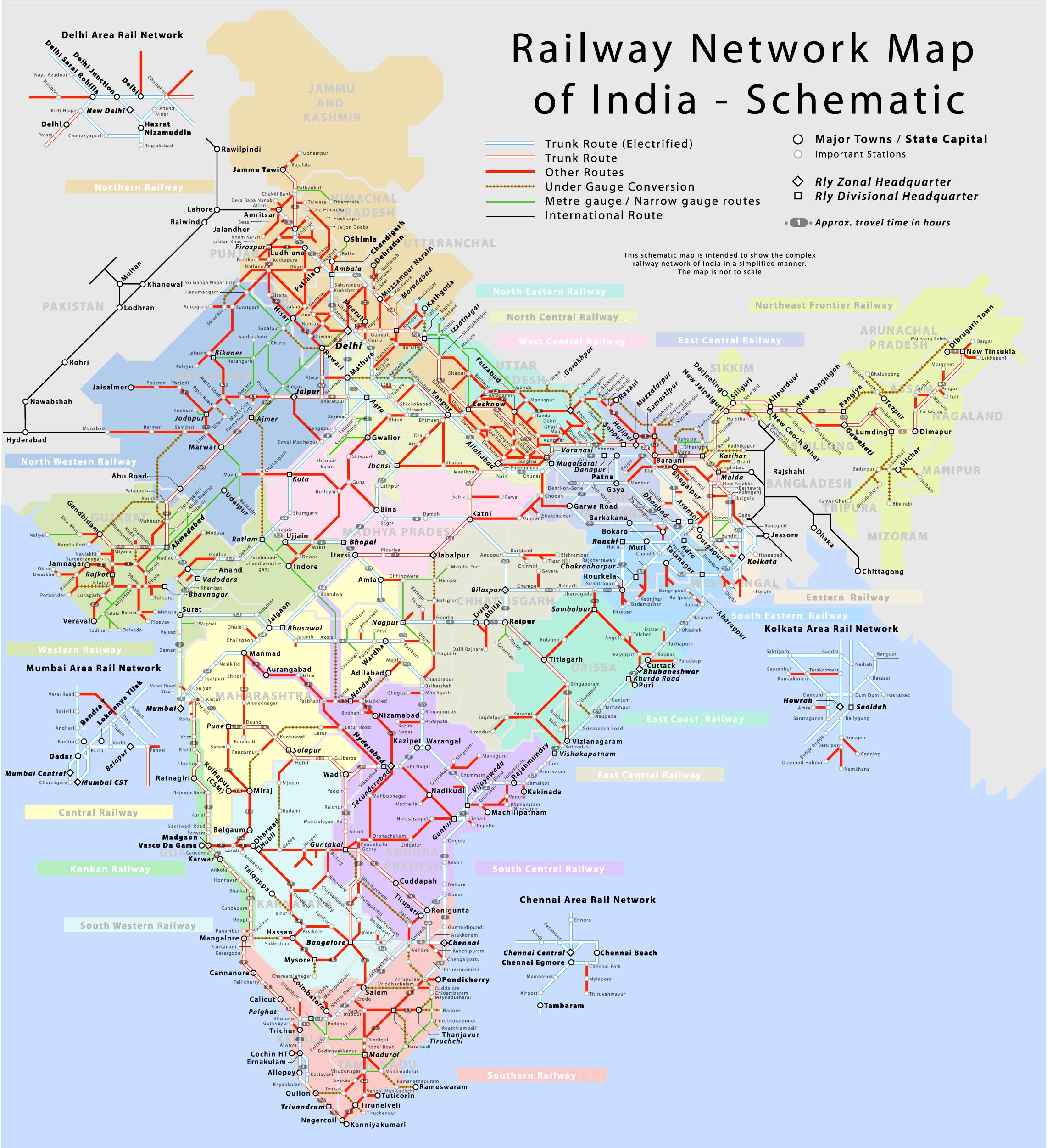 Carte Ferroviaire Deurope.Inde Reseau Ferroviaire Carte Populationdata Net