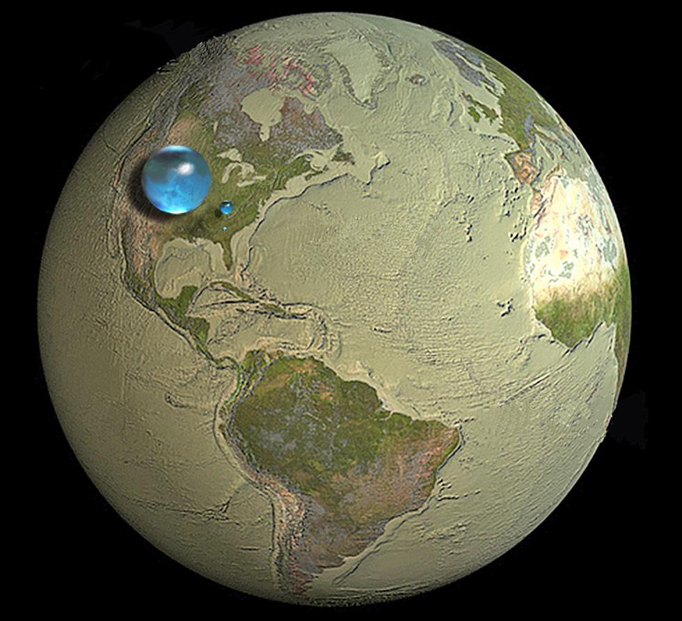 Monde - volume d'eau sur Terre