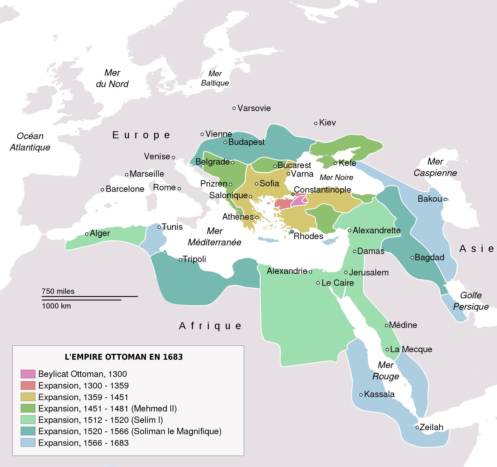 Empire ottoman 1683 - La carte de l empire ottoman ...