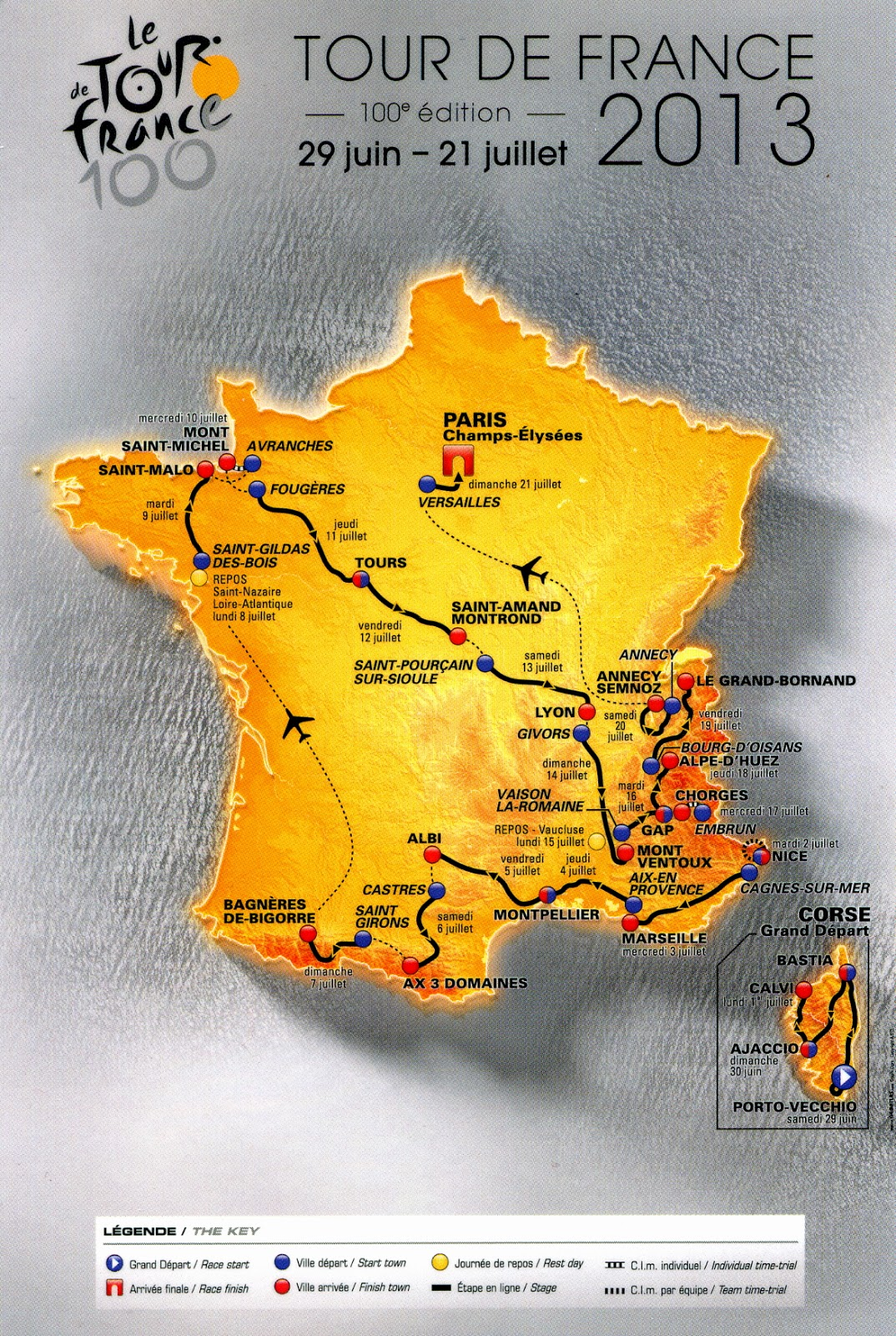 Tour de France 2013 • Carte • PopulationData.net
