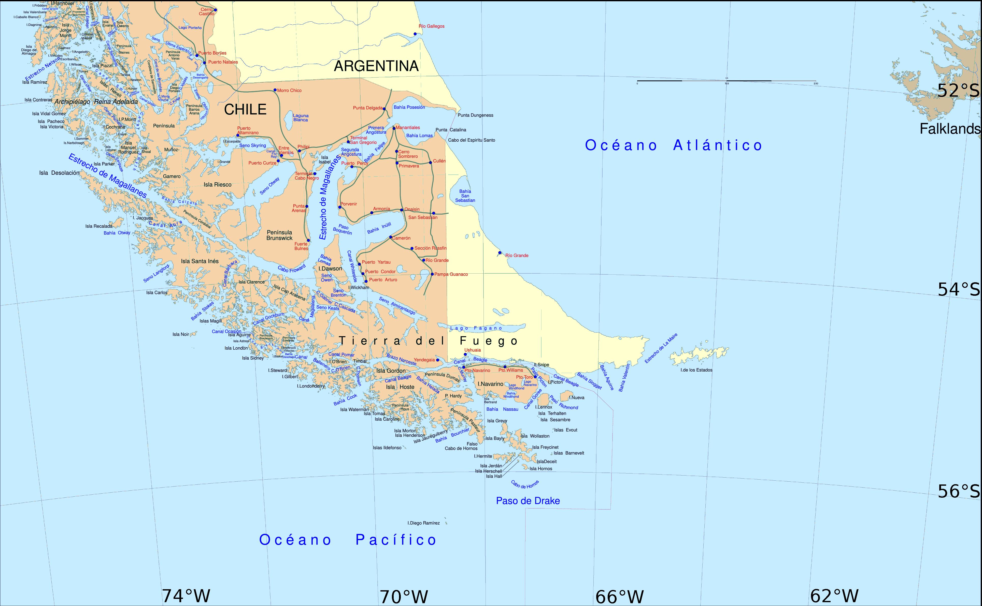 détroit de magellan carte du monde Chili   Argentine   Terre de Feu, Détroit de Magellan • Carte