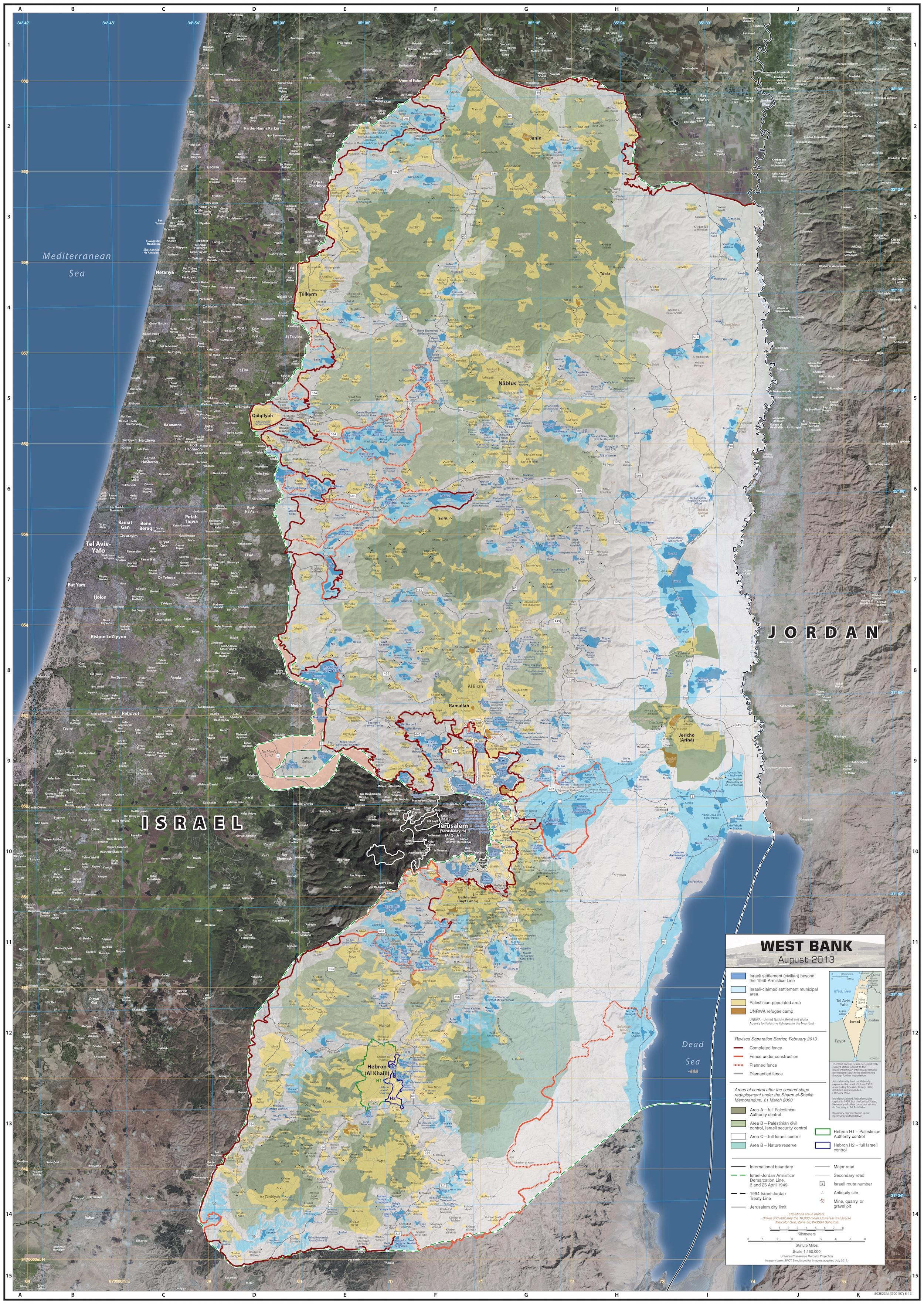 Mur Entourant La Cisjordanie (2013) • Carte