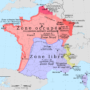 France – zone occupée / zone libre (1942)