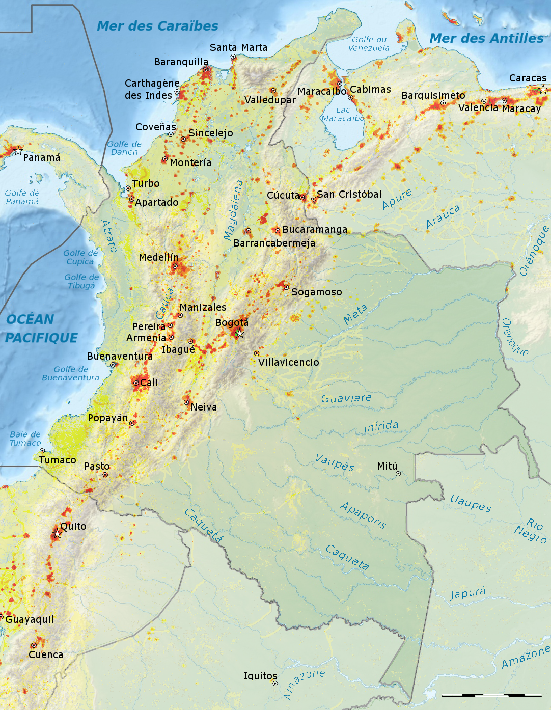 Colombie Densité 2007 Carte Populationdatanet