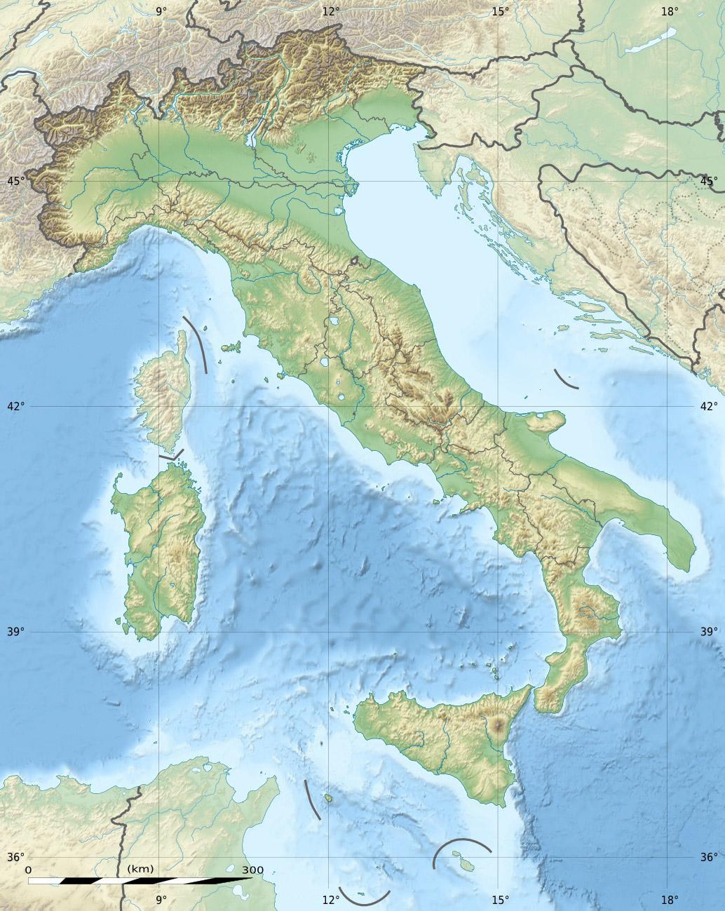 Italie - topographique • Carte • PopulationData.net