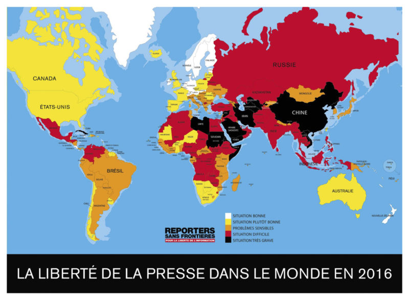 Monde - Liberté de la Presse 2016 (RSF)