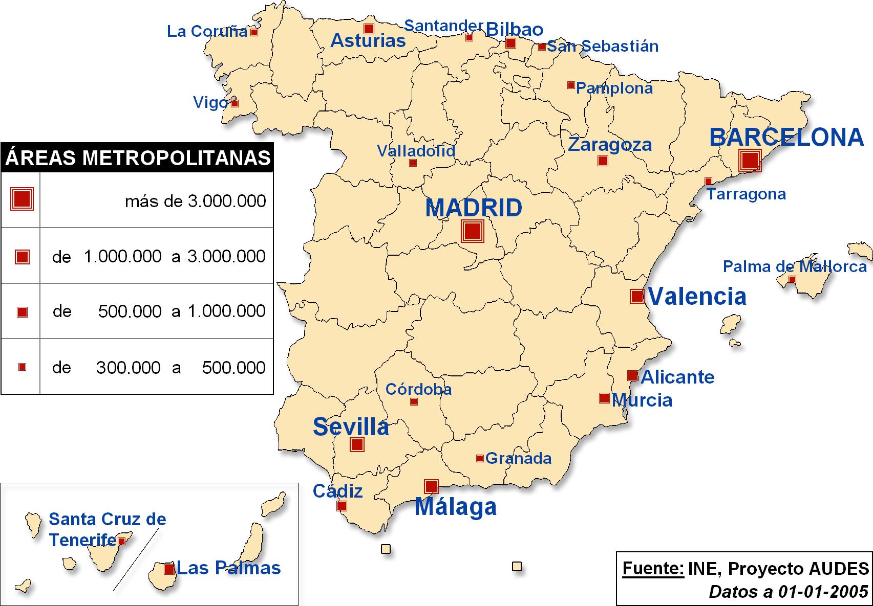 carte espagne grandes villes