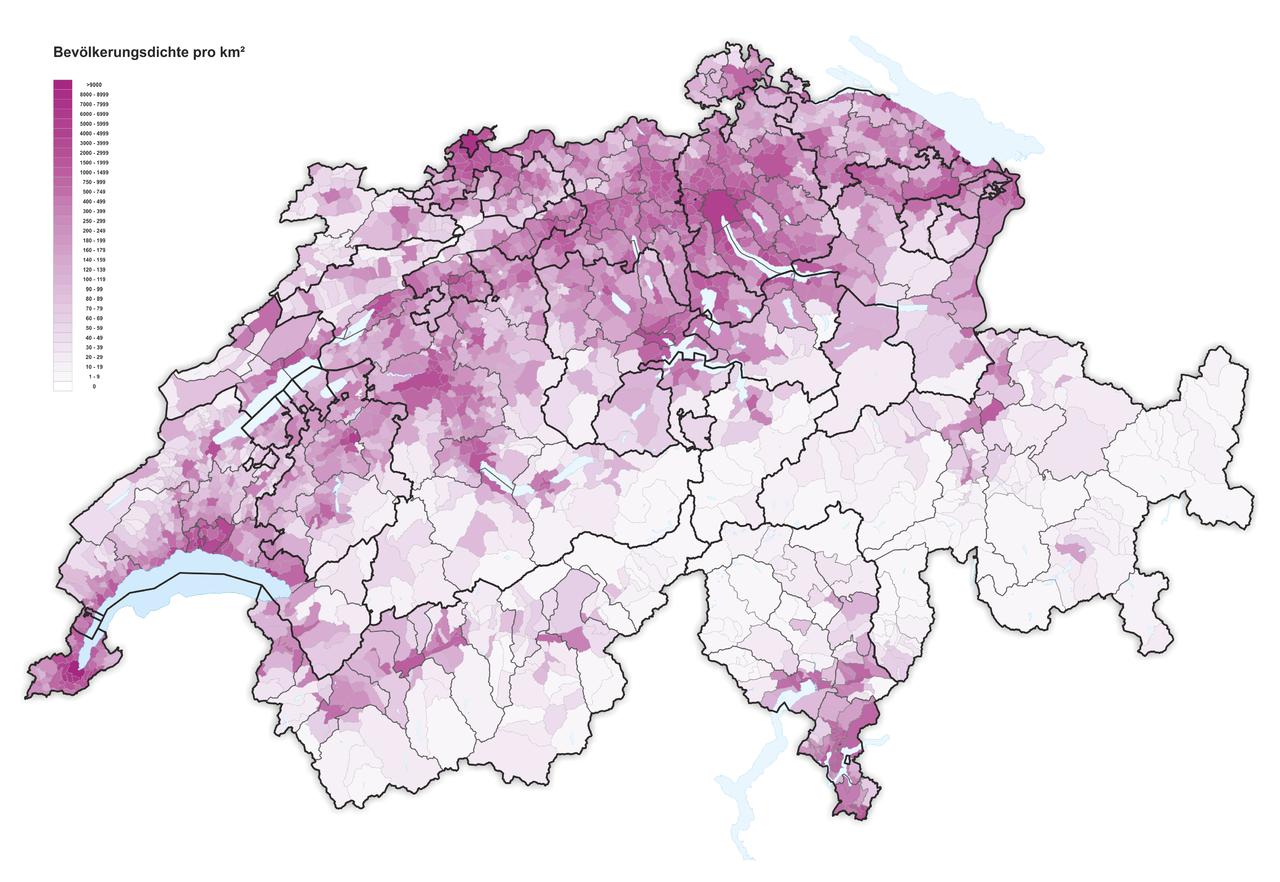 Suisse densit 2016 carte - Office cantonal de la population geneve ...
