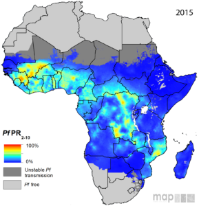 Afrique - Malaria (prévalence 2015)