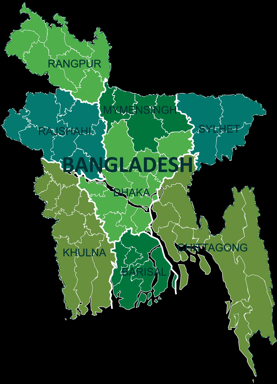 Bangladesh - divisions • Carte • PopulationData.net