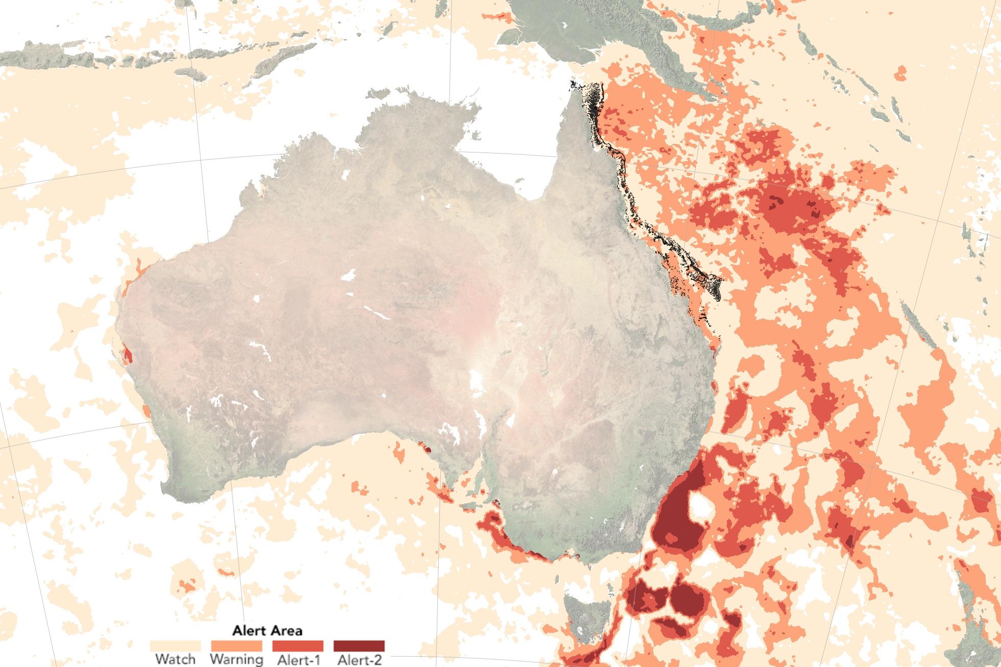 Australie - stress thermique océan Pacifique Grande barrière de corail (février 2017)