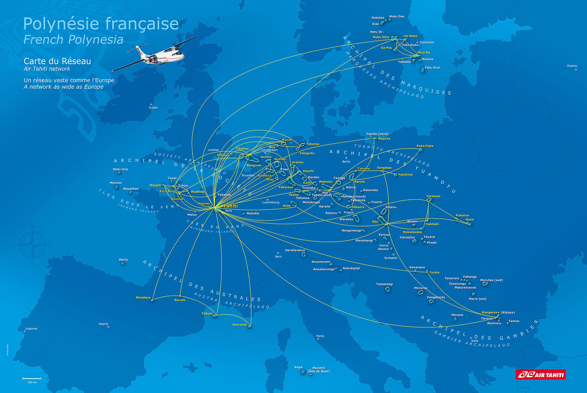 Polynésie française   comparaison avec l'Europe • Carte