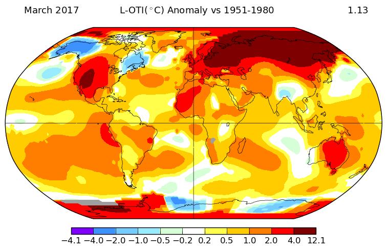 Monde   Températures : anomalies (mars 2017) • Carte