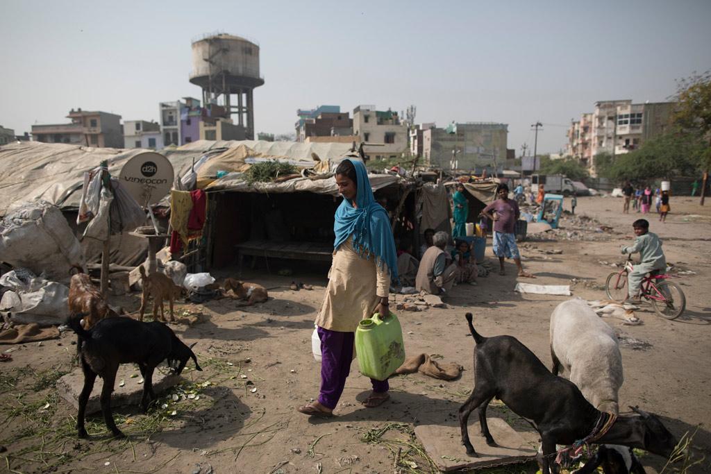 Femme transportant de l'eau en Inde