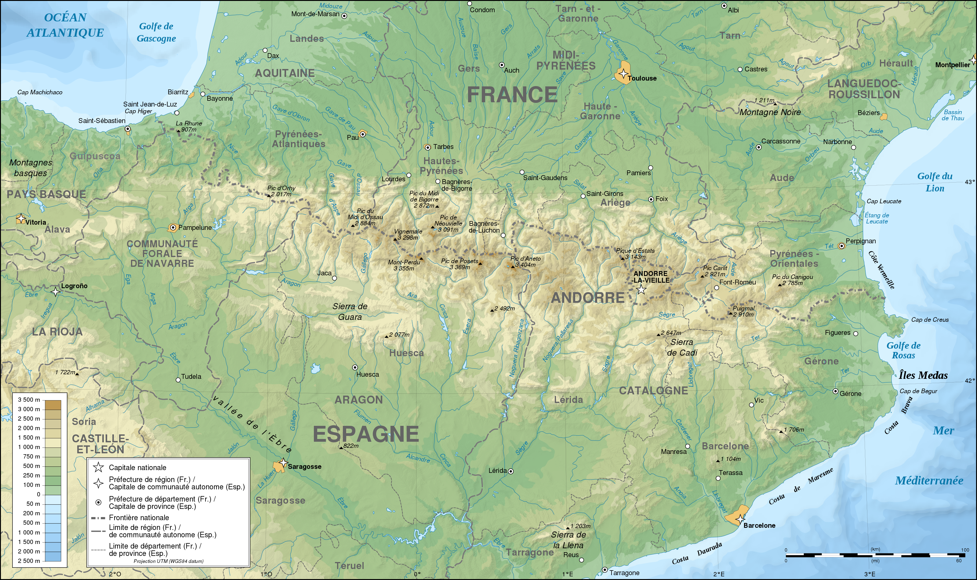 Carte Espagne Topographique.France Espagne Pyrenees Topographique Carte