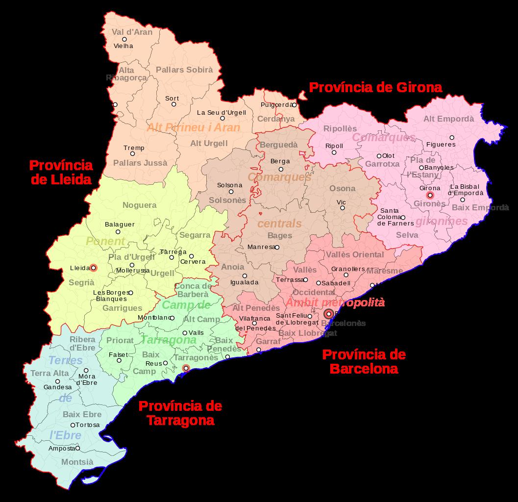 Espagne - Catalogne : administrative • Carte • PopulationData.net