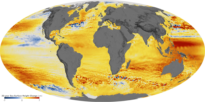 Monde - Élévation du niveau des mers (1992-2014)