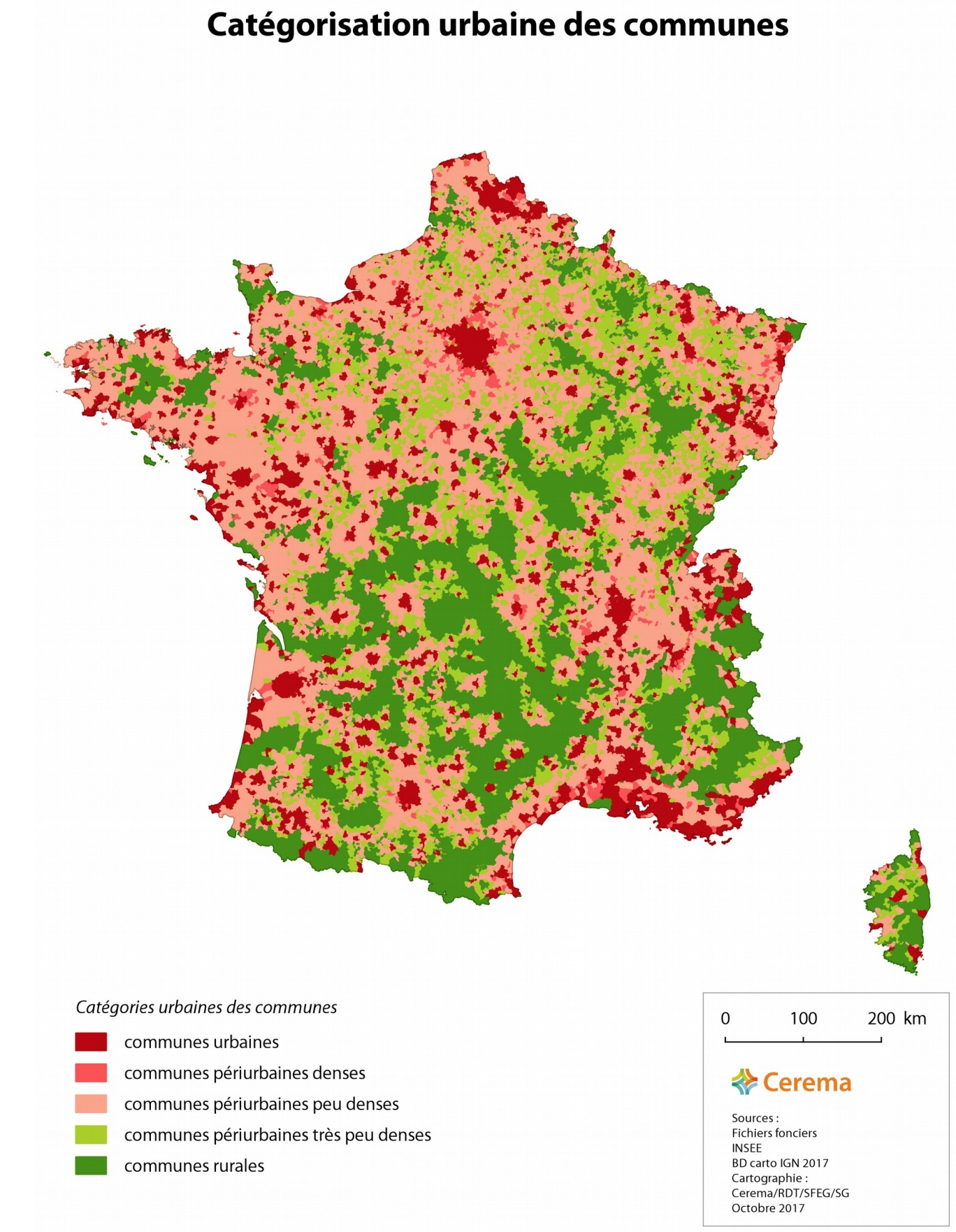 France - urbanisation (communes, 2017)