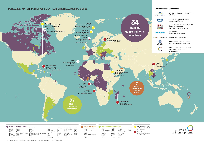 Monde Francophonie états Membres 2018 Carte