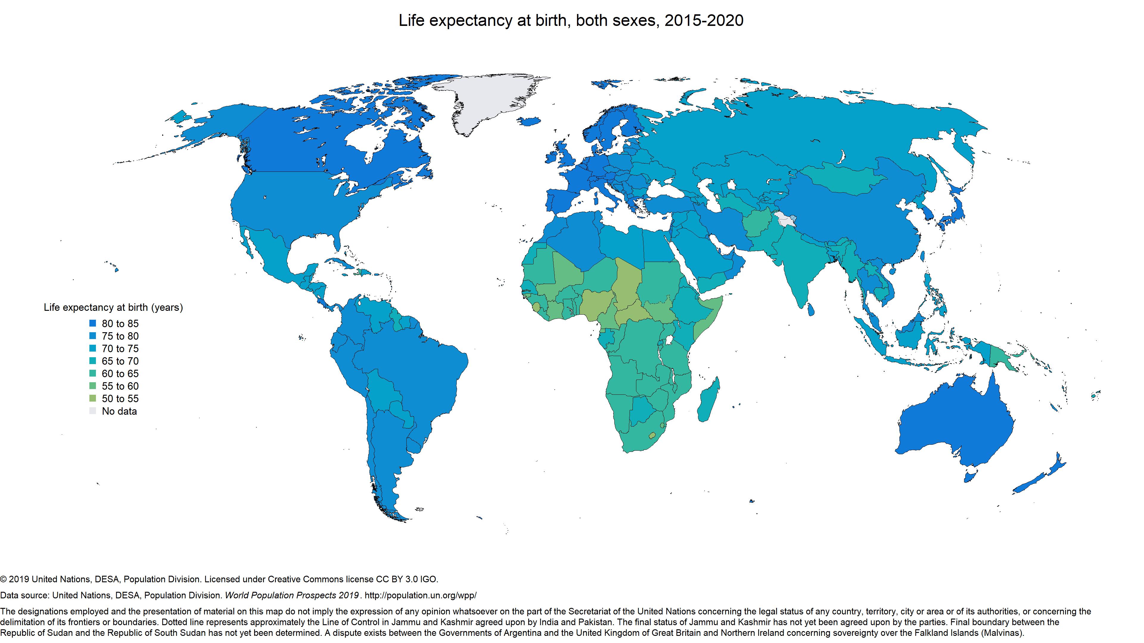 Monde - Espérance de vie (2015-2020)