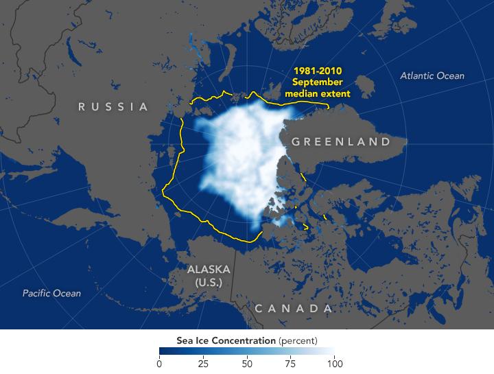 Arctique - étendue de la glace de mer (2019)