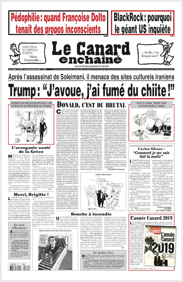 Une du 8 janvier 2020 du journal Le Canard enchaîné