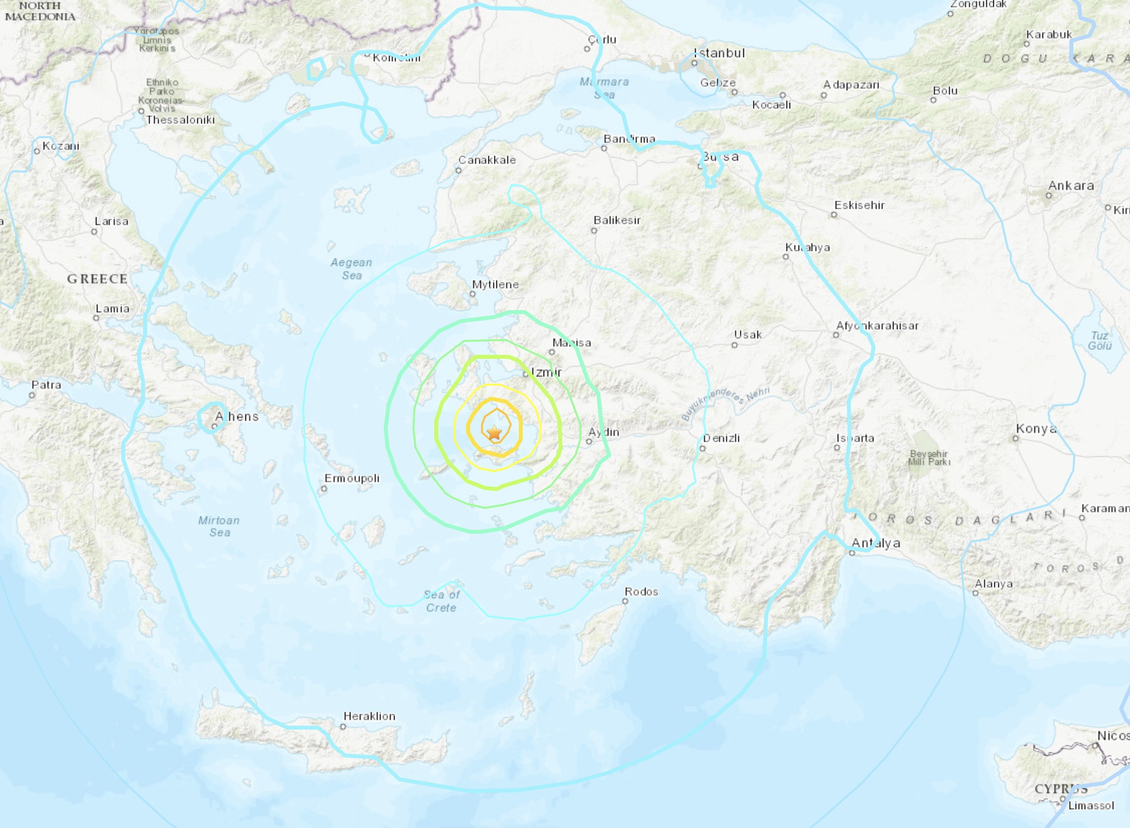 Séisme entre la Grèce et la Turquie le 30 octobre 2020
