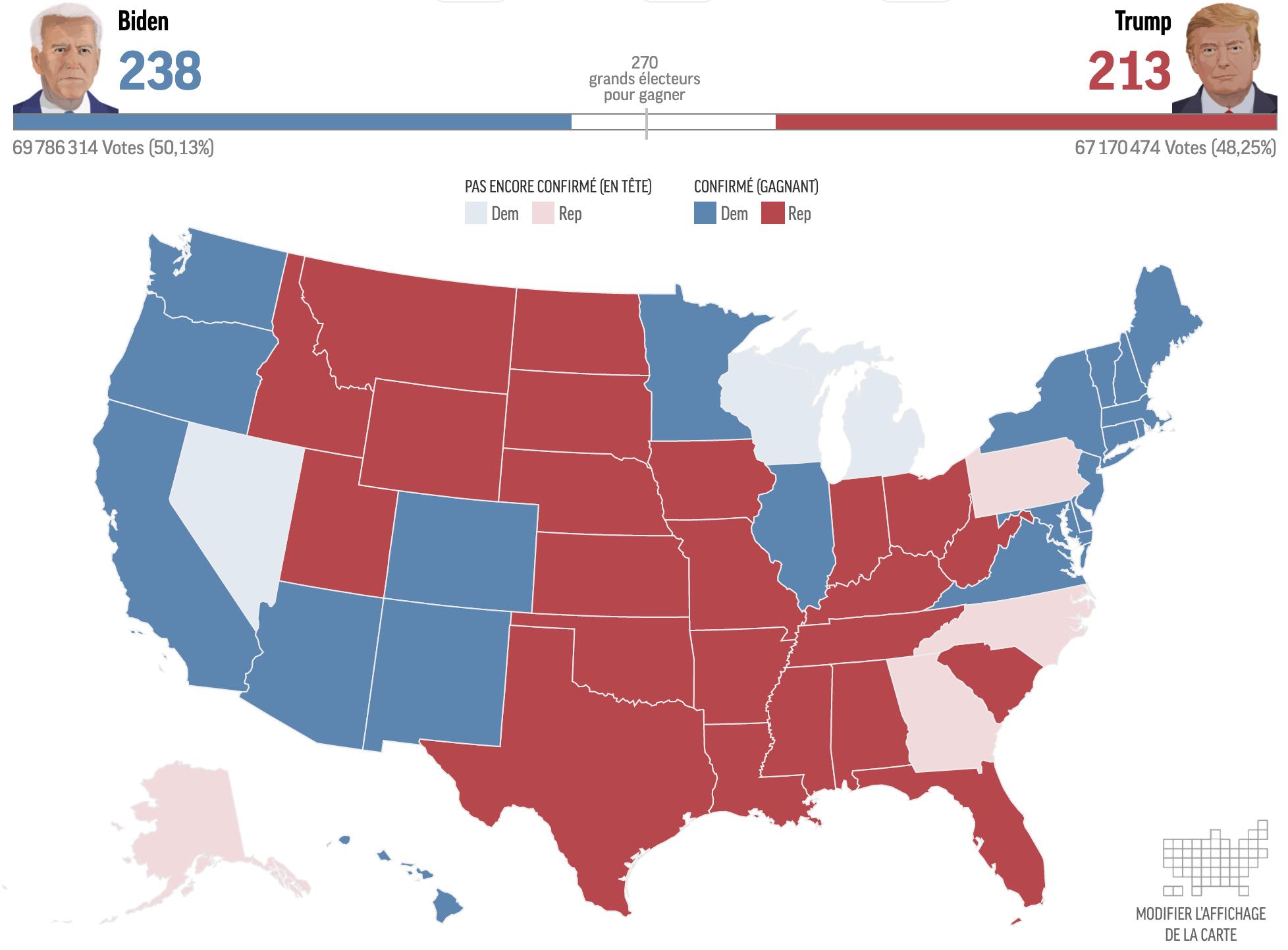 États-Unis - élections 2020 (résultats préliminaires le 4 novembre)
