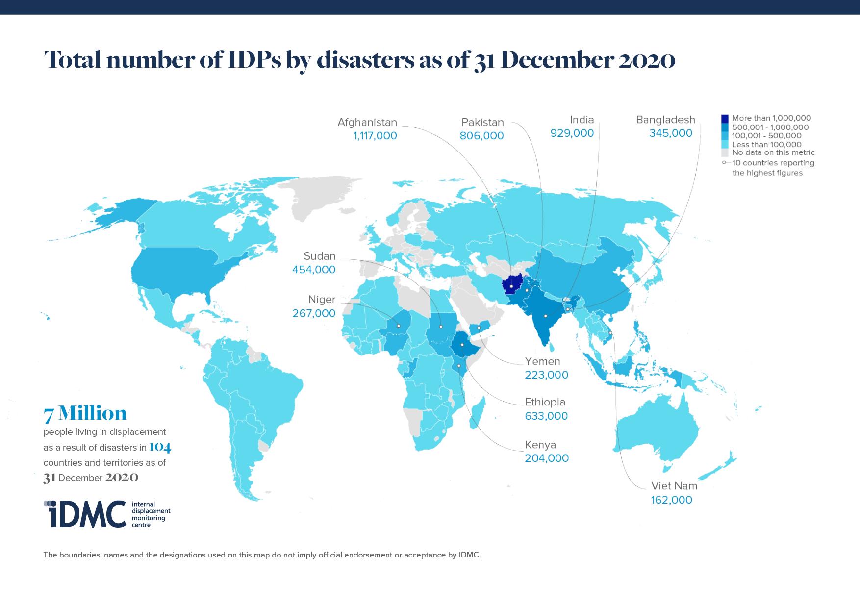 Monde - Déplacés par les catastrophes (2020)