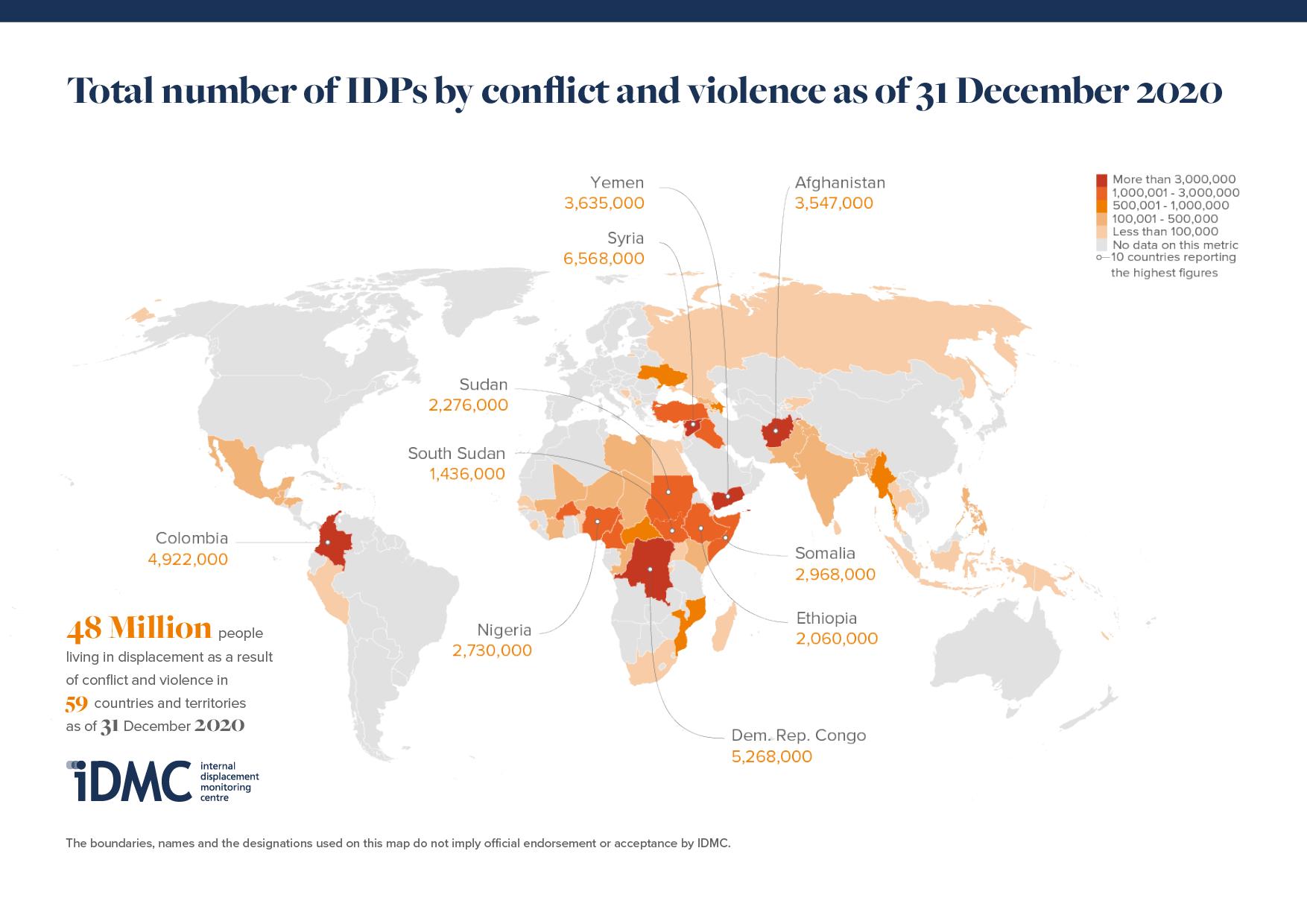 Monde - Déplacés par les conflits (2020)