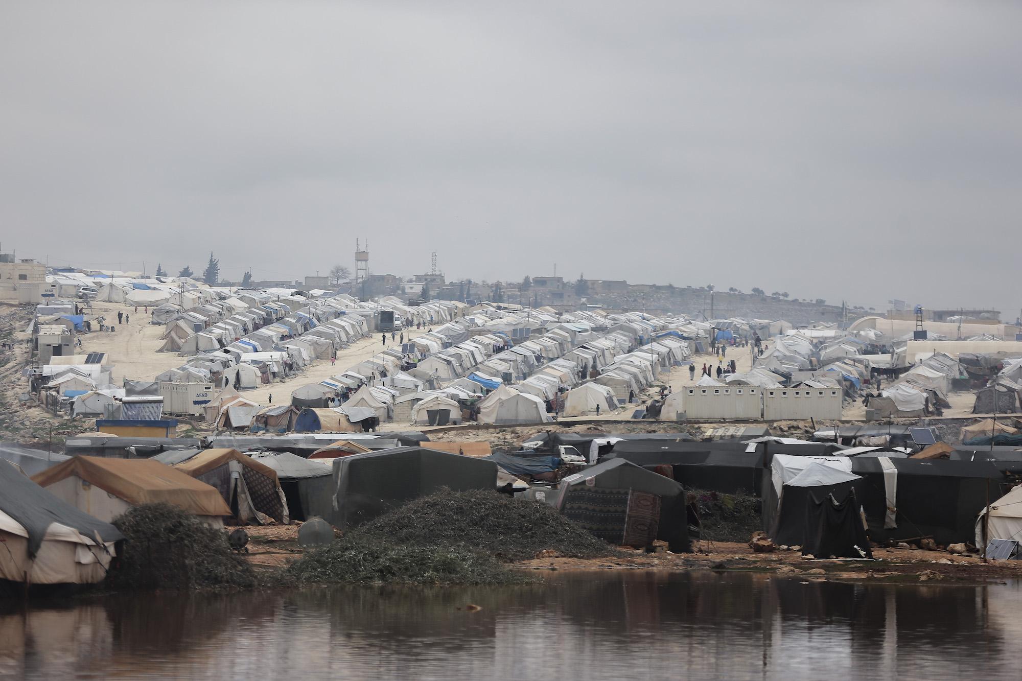 Camp de réfugié inondé, Syrie