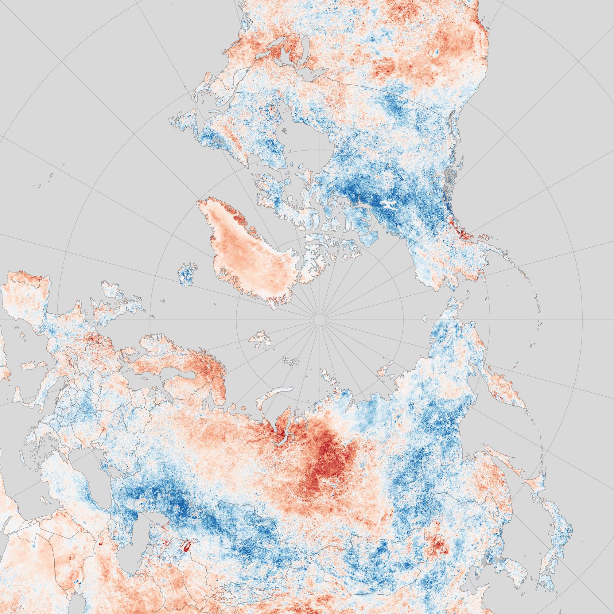Arctique - températures moyennes (été 2016)