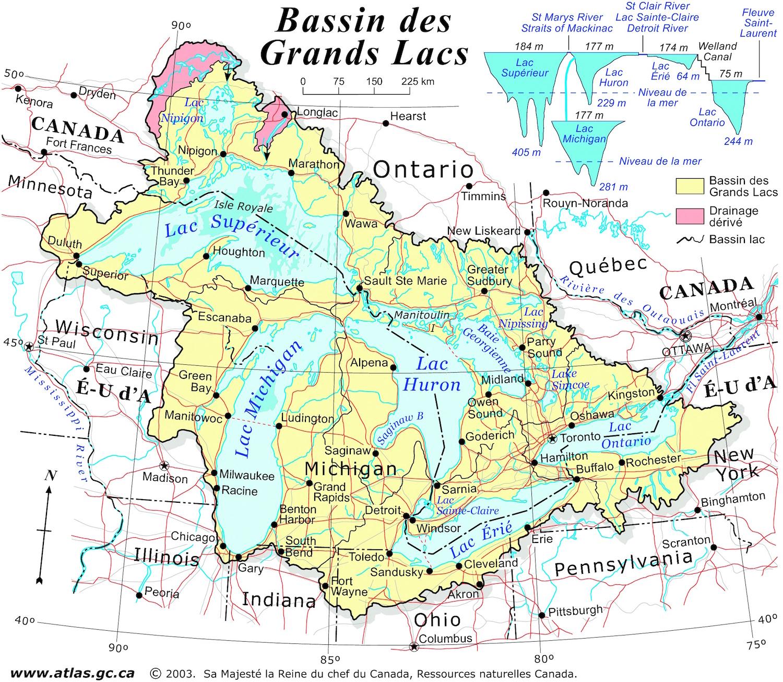 Carte Etats Unis Canada.Canada Etats Unis Bassin Des Grands Lacs Carte