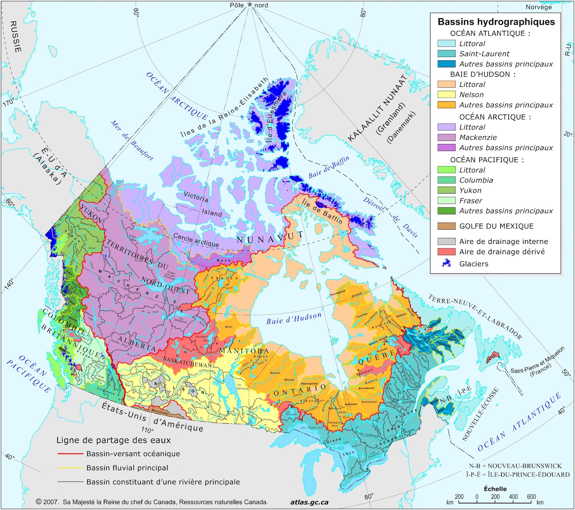 Carte Bassin Hydrographique Canada.Canada Bassins Hydrographiques Carte Populationdata Net