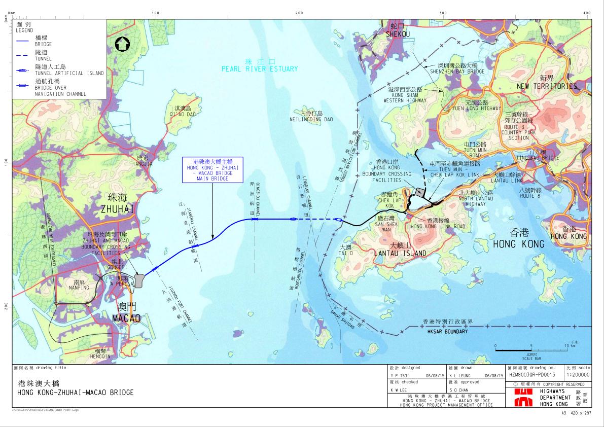 Chine - Pont Hong Kong - Macao, plan