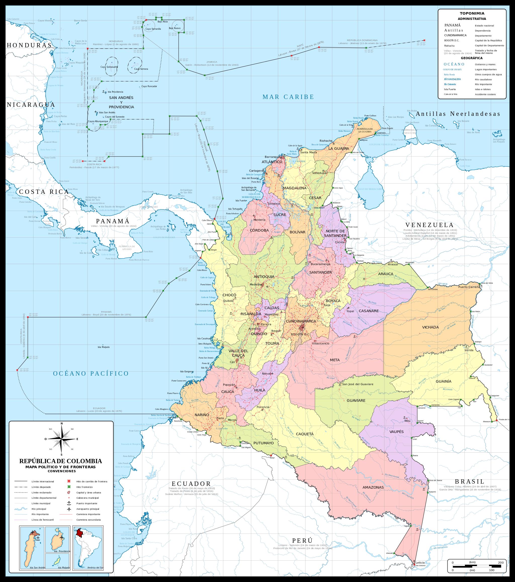 Colombie - administrative • Carte • PopulationData.net