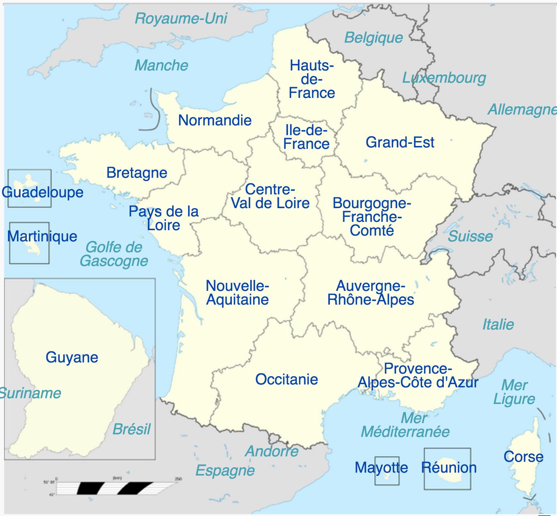 France - régions • Carte • PopulationData.net