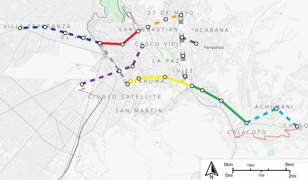 La Paz, Bolivie - plan des lignes télépheriques