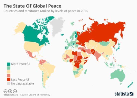 Monde - indice de la paix 2016
