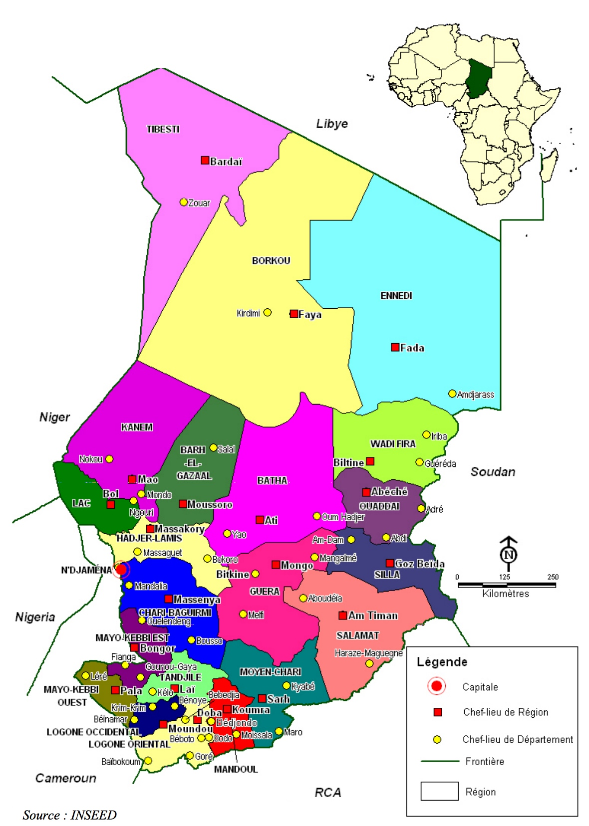 Favori Tchad - administrative • Carte • PopulationData.net DR88