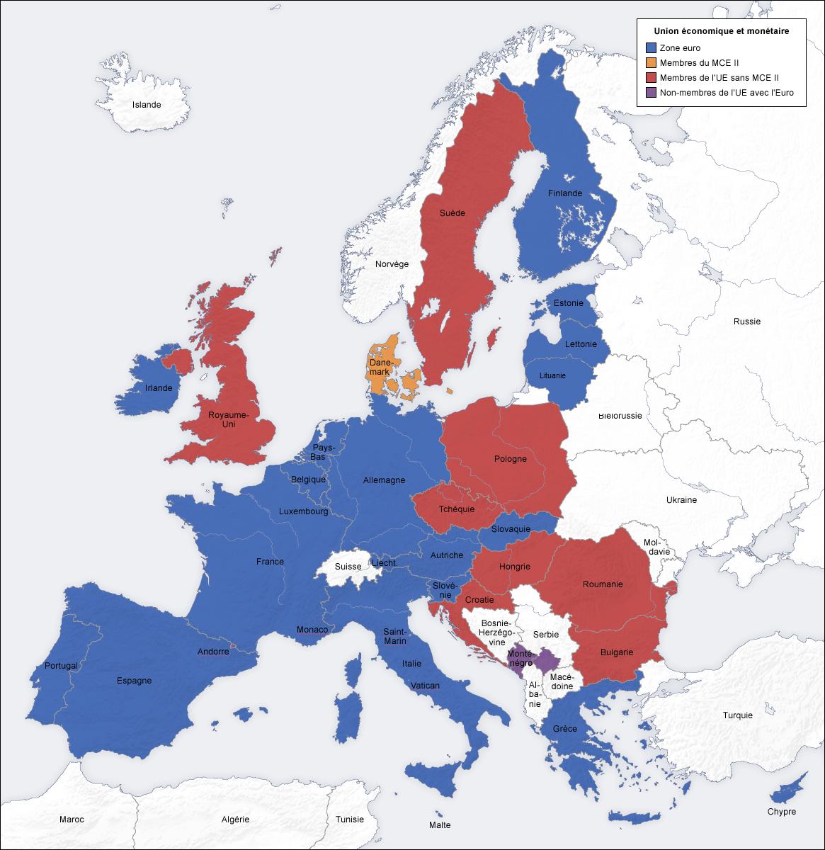 carte europe zone euro 2016
