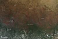 Image satellite : feux en Afrique de l'Ouest