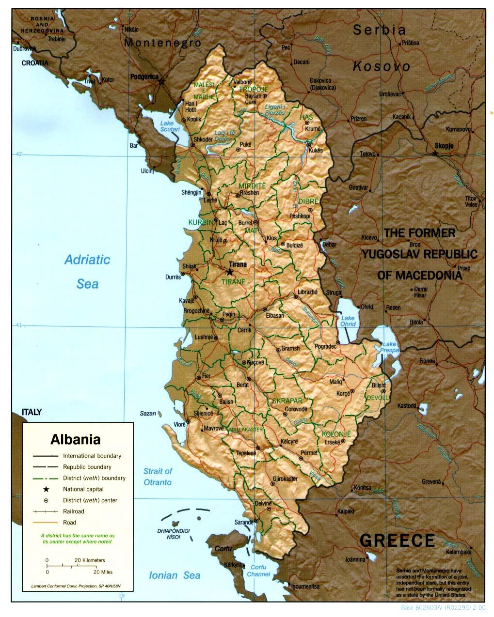 Albanie - relief