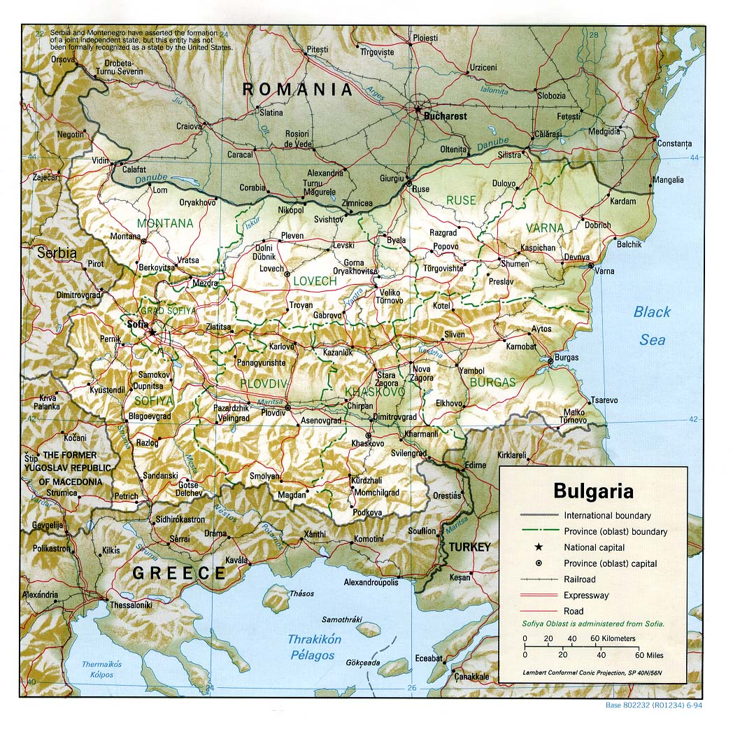 Bulgarie - relief • Carte • PopulationData.net Мош