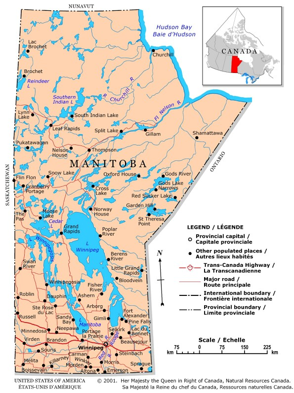 Carte Canada Manitoba.Canada Manitoba Carte Populationdata Net