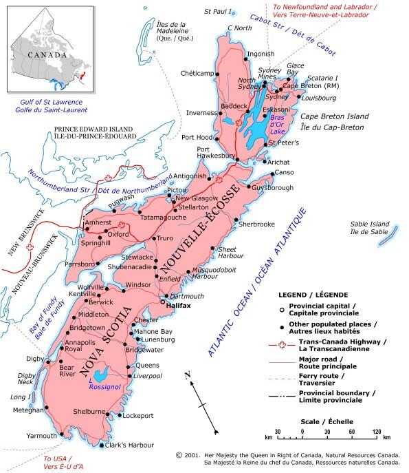 Canada   Nouvelle Écosse • Carte • PopulationData.net